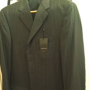 NEW Claiborne Charcoal Gray Pinstripe Suit Size 44